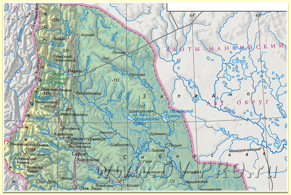 Река Пелым на карте
